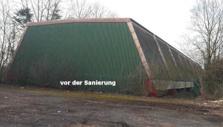 Wandsanierung alte Halle mit Trapezblechwand